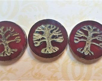 Tree of Life Coin (22mm) Red Opaline with Picasso