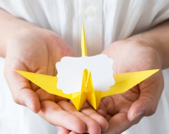 Lemon Yellow Paper Origami Cranes Placecards / Minimalist Reception / Origami Table Decor Summer Tropical Favours Wedding Banquet Luncheon