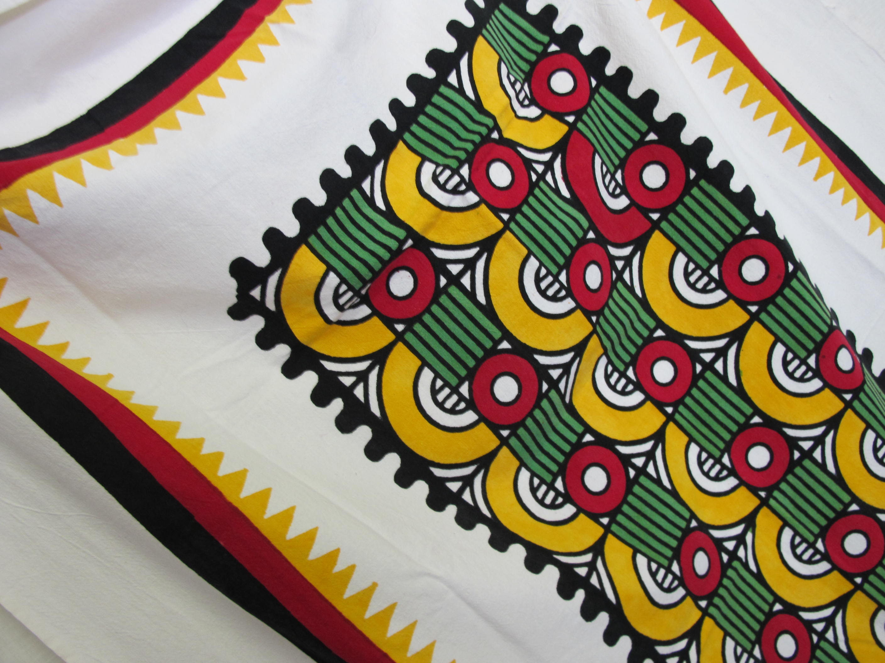 Mid Century Modern Tablecloth Hand Screened Tablecloth Woven