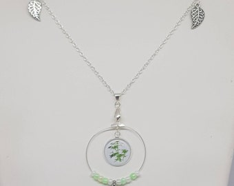 Bamboo leaf necklace and beads