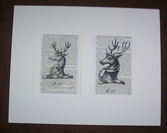 Antique Woodland Stag Deer Prints on Book Pages in Double Mat
