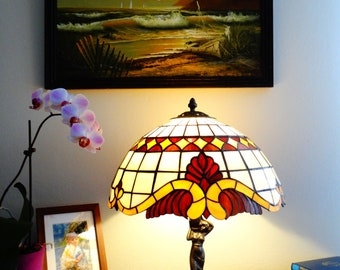 Mid century lamp Classic lamp Stained glass lamp Tiffany style lamp Bedside lamp Desk lamp Table lamp 16 inch classic lampshade