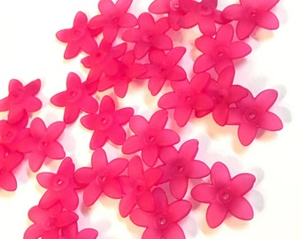 Lucite Acrylic Beads 20 pcs, Frosted, Dyed, Flower, Fuchsia, acrylic flower beads 17x16.5mm, lucite flower beads, acrylic flowers