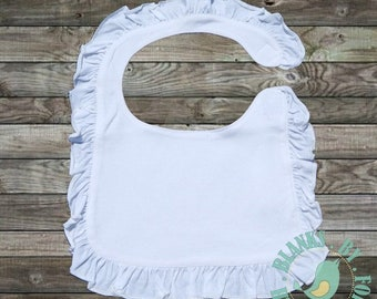 Blank Infant Baby Bib with Ruffles - Embroidery - Applique - HTV