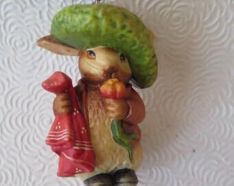 Beatrix Potter Ornament Benjamin Bunny Rabbit Easter Figurine Italian Made in Italy Resin Green Tam