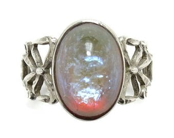 Vintage Dragon's Breath Ring Size 7.75 Sterling Silver Side Bows Pretty