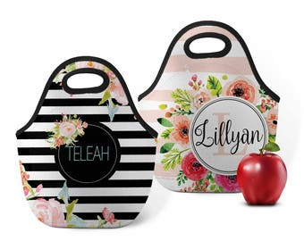 Personalized Lunch Totes, Custom Lunch Box, Monogram Lunch Bag, Custom Snack Bag, Zip Tote, Insulated Bag, Neoprene Tote, Backpack Lunch Bag