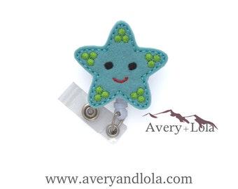 Smiley Starfish Badge Reel, Starfish Badge Reel, Fish ID Holder, ID Badge Holder, Vet Gift, Teacher Gift, Nurse Gift