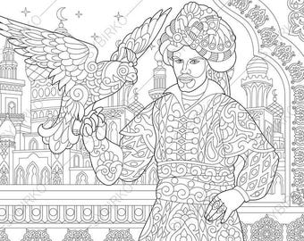 Turkish Sultan. Ottoman with Eagle (Hawk, Falcon). Coloring Pages. Coloring book pages for Kids and Adults. Instant Download Print