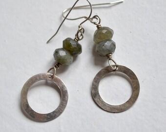 Labradorite and Sterling Silver Dangle Earrings - Everyday Earrings - Grey Blue Gemstone Earrings - Gemstone Earrings - Gift for Her - E3055