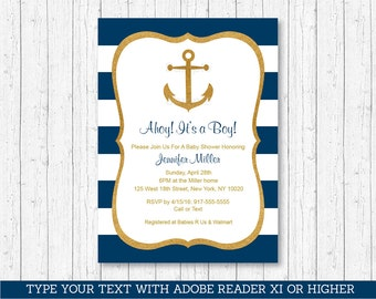 Nautical Baby Shower Invitation / Anchor Baby Shower Invitation / Gold Glitter / Editable PDF INSTANT DOWNLOAD A224