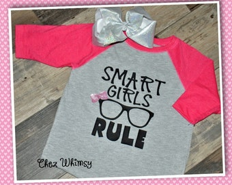Girls T-shirt, Smart Girls Rule Tee, Little Girls Shirt, Smart Girl Shirt, Shirt with Glitter Bow, Shirt with Glasses