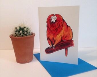 A6 Golden Tamarin Card - illustration - art - greetings card
