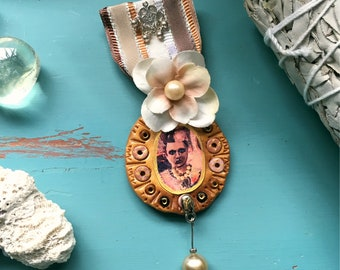 Marie Curie Victorian gothic polymer clay necklace