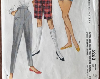 McCall 1950's Pattern # 5236 - Short-Shorts, Bermudas, Cigarette Pants - Proportioned Fit for Short, Medium & Tall Figures - Waist Size 30""