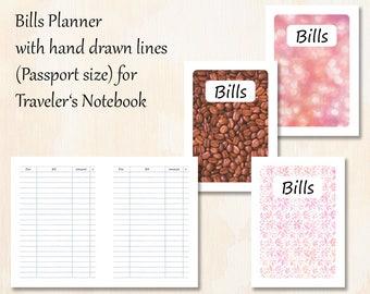 Passport TN   3 covers   Bills Planner with hand drawn lines for Traveler's Notebook   Planner Insert