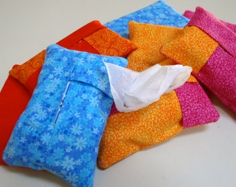 Brightly Colored Tissue Case/Cozy for Travel Size Tissues Packages