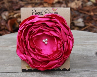 34 Colors Large Satin Flower Pin, Fuchsia Satin Flower Pin