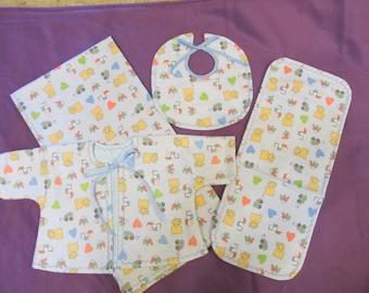 """4 piece baby set - 38""""x40"""" blanket, 18.5""""x8"""" burpie, bib and jacket - 0-3 months - blue toys - cotton flannel - newborn gift set"""