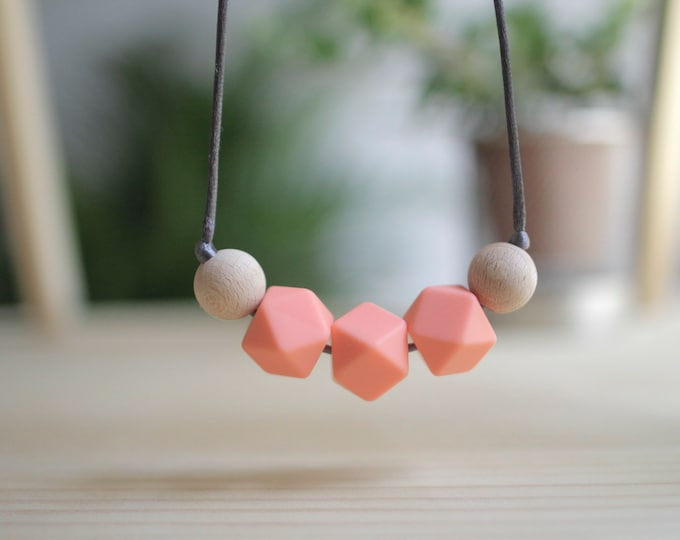 Featured listing image: Breast-feeding Necklaces-Salmon-BPA Free