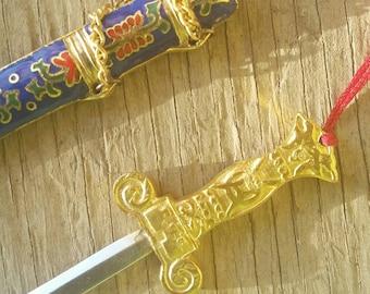 Vintage Cloisonne  Ornate Brass Sword Letter Opener