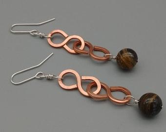 Gemstone Earrings, Copper Earrings, Hammered Copper, Tiger Iron