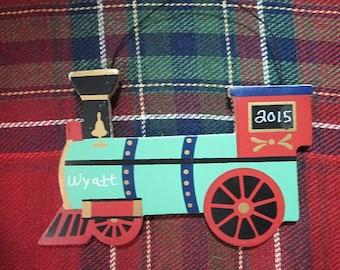 Personalized Wooden Train Christmas Ornament