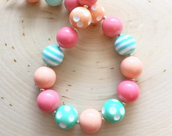Spring Coral Chunky Necklace - Photo Prop - 1st Birthday - GumBall Bubblegum Necklace -  Spring - Summer -  Smash Cake - Custom Necklace