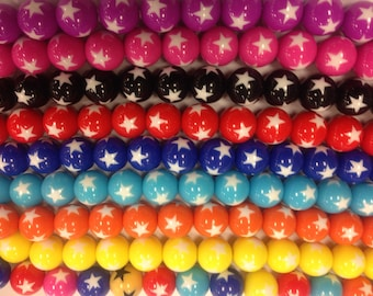 16mm round gumball beads, with star,  22 beads, assorted colors