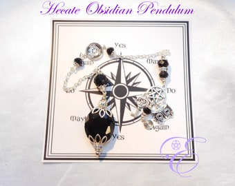 Hecate Pendulum - Black Obsidian, with Board and Instructions - Pendulum Divination