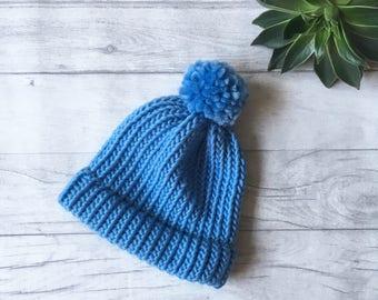 Cornflower blue hat, blue knitted hat, chunky knit hat, knit accessories, fall knitwear, fall beanie hat, blue bobble hat, merino wool hat