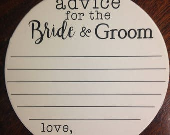 Paper Coasters Bride and Groom Advice