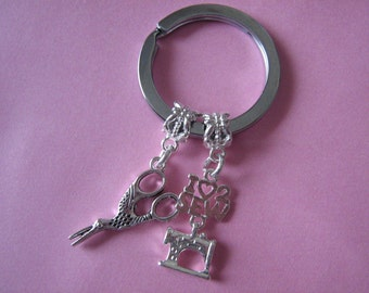 Seamstress Keyring Dressmakers Gift Sewing Machine Charm
