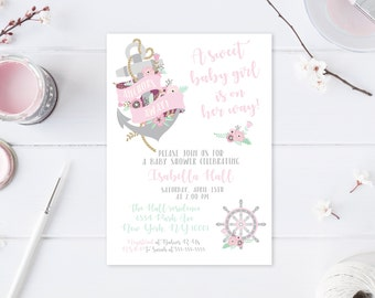 Baby Shower Invitations for Girls, Nautical Baby Shower, Anchor, Baby Girl, Girl Baby Shower Invitations, Baby Shower Invites, Floral [603]