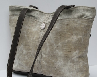 WAXED LINEN TOTE Bag  Illumination with Charcoal Gray Leather Trim