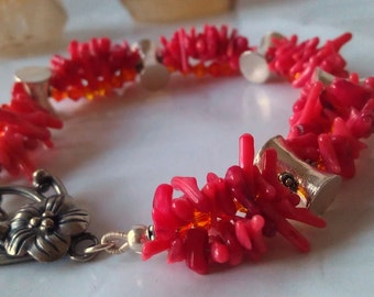 Tribal Silver  Coral  Frangipani Bracelet