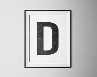 INSTANT DOWNLOAD Letter D Printable Monogram, art print 8x10