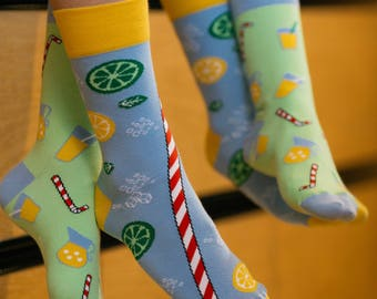 Lemonade socks | men socks | colorful socks | cool socks | mismatched socks | womens socks | crazy socks | patterned socks