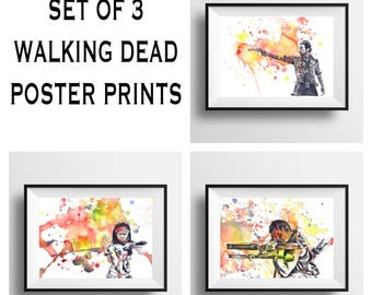 The Walking Dead Poster Print Set of 3 Walking Dead Decor Art Walking Dead Gift Rock Daryl and Michonne The Walking Dead Painting Wall Art