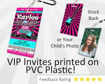 Rockstar Invitation PLASTIC Rockstar, Rockstar Invitation, Birthday Invitation, Birthday Invite, Rockstar Birthday Invitation SKU-INV228