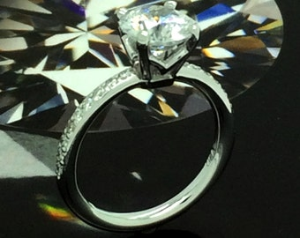 14K White Gold Diamond Solitaire Ring with Cubic Zirconia center