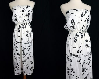 Strapless Sun Dress Black and White Stretchy Cotton Ragtime Small Medium Calf Length