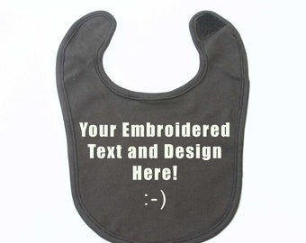 Brown Baby Bib 100% Organic Thick and Soft Cotton, Personalized