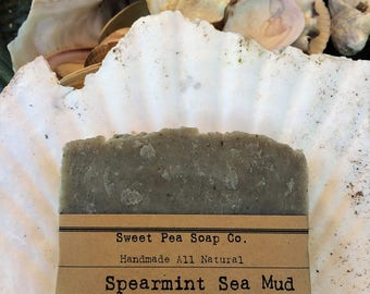 Spearmint Sea Mud Soap, Exfoliating Soap, French Green Clay, Sea Mud, Essential Oil, Skincare