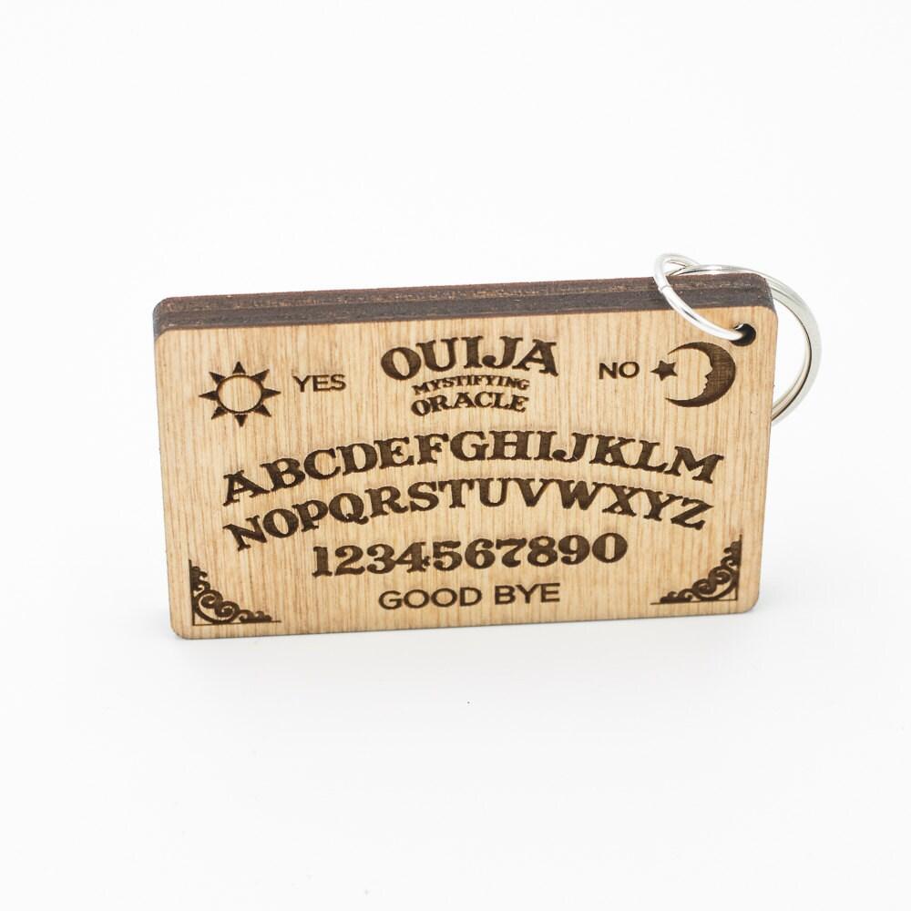 Ouija board keychain mini ouija board carved wood key ring description ouija board keyring buycottarizona Gallery