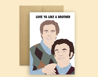 "Step Brothers ""Love ya Like a Brother"" Funny Card -- Funny Birthday Card, Step Brothers Card, Will Ferrell, Sibling Cards, Friendship Cards"