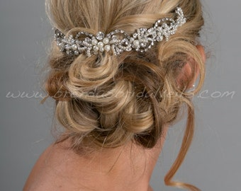 Bridal Hair Swag, Pearl and Rhinestone Headpiece, Wedding Hair Vine - Konchessa