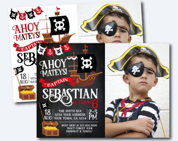 Pirate Invitation with Photo, Pirate Birthday Party, Pirate Ship Invitation, Ahoy Matey, Personalized Invitation, 2 options