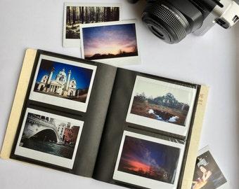 Instax Photo Album for Fujifilm Instax Wide 300, 210, 200, FP-100c, Lomo'Instant Wide. Holds 32 Photos. Instant Photo Album. Light Brown.