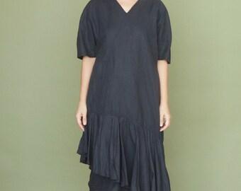 Minimalist graphite black dress Oversized dress Vintage boho dress Linen tent dress Asymmetric midi dress Summer dress Bohemian style